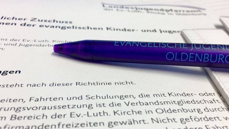 ejo-Kugelschreiber auf Zuschussrichtlinie